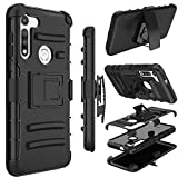 Yunerz Moto G Fast Case, Holster Heavy Duty Shockproof Full-Body Protective Hybrid Case Cover with Swivel Belt Clip and Kickstand for Moto G Fast 6.4inch (Black)