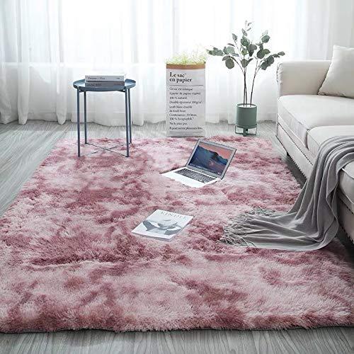 Lurowo Alfombra de piel sintética, suave y esponjosa, moderna, color degradado, pelo largo, lavable, con parte inferior antideslizante, alfombra decorativa para sala de estar, dormitorio, sofá