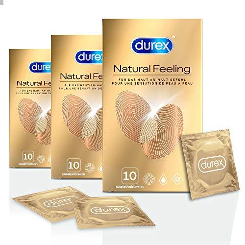 Durex Natural Feeling Kondome – Latexfreie Kondome für ein natürliches Haut an Haut Gefühl – 30er Pack (3 x 10 Stück)