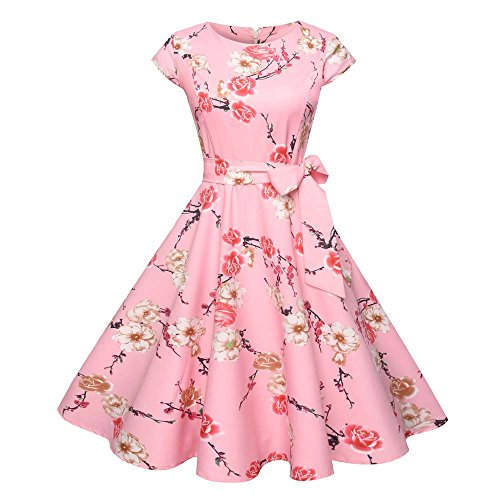 Damen Vintage Rockabilly Kleid, originelles Kleid, langes Damenkleid, Damen, Vintage, figurbetont, kurz, Casual, Retrostil