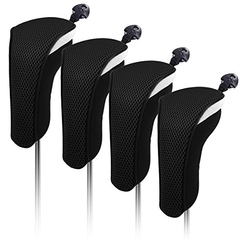 4X Thick Neoprene Hybrid Golf Club Head Cover Headcovers with Interchangeable Number Tags (Black)