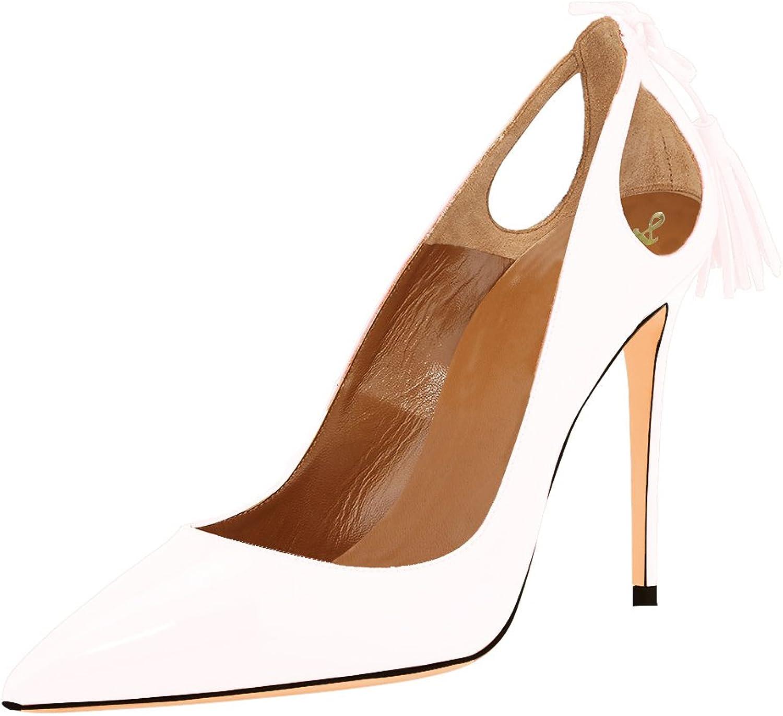 AOOAR Women's Pointed Toe Tassel Stiletto Dress Pumps shoes