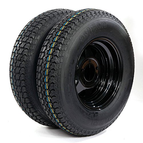 13' Trailer Wheel & Tire with Bias ST175/80D13 Tire Mounted (5x4.5 bolt circle) Black Spoke, Set of 2