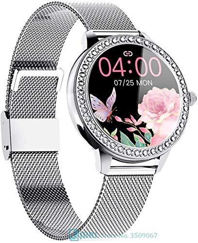 Reloj inteligente para mujer, reloj inteligente electrónico, reloj inteligente para Android, iOS, rastreador de fitness, táctil, Bluetooth, color dorado y plateado