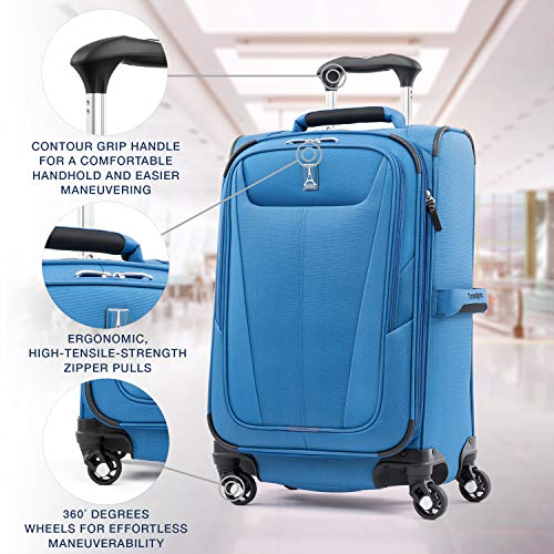 Travelpro Maxlite 5-Softside Expandable Spinner Wheel Luggage, Azure Blue, Carry-On 21-Inch