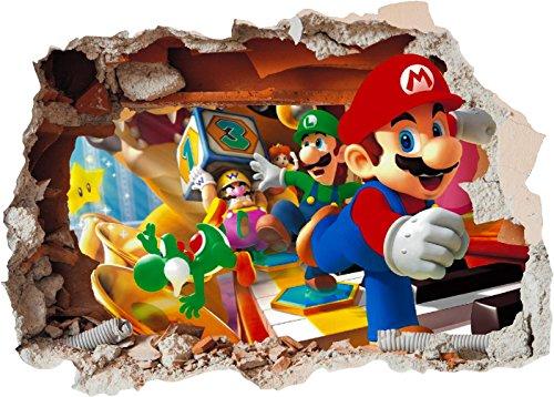 Super Mario Brothers Trou dans le mur – Autocollant en vinyle imprimé 3D pour chambre d'enfant (petit A4)