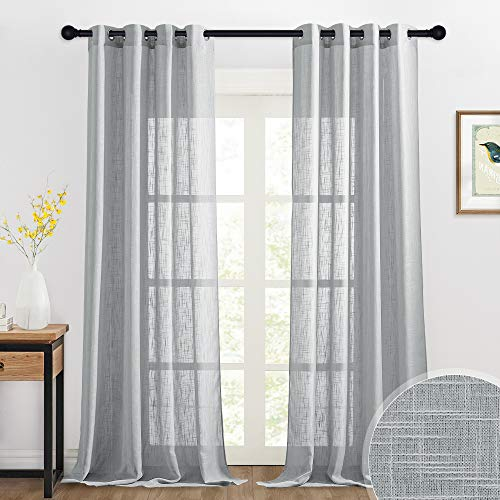 RYB HOME Extra Long Curtains - Linen Texture Sheer Curtains Country Style Light Filtering Privacy Protect for Patio French Door Living Room Window Decor, 52 inch x 95 inch, 2 Pcs, Grey