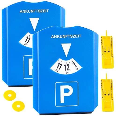 PEARL Profiltiefenmesser: 2er-Set Parkscheibe mit Eiskratzer, Einkaufs-Chip und Profilmesser (Einkaufschip)
