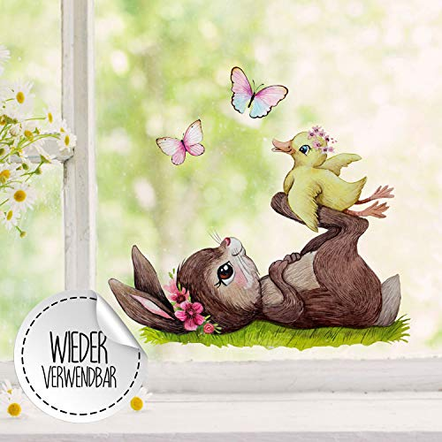 ilka parey wandtattoo-welt Fensterbild Hase mit Entchen & Schmetterlinge -WIEDERVERWENDBAR- Fensterdeko Fensterbilder Frühlingsdeko Ostern Osterdeko bf33