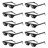 10 Pack Thug Life Party Sunglasses 8 Bit Pixelated Tiny Mosaic Gamer MLG Photo Props Glasses for Adults Teens