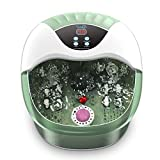 Turejo Foot Spa/Foot Bath Massager with Heat, Bubbles,14 Massage Rollers, Temperature Control, Pumice Stone and Medicine Box for Spa Treatment at Home, Fatigue Relief-Neo Mint Green