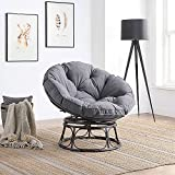 BELLEZE Papasan Chair with Fabric Tufted Cushion and Sturdy Steel Frame, 360-Degree Swivel Indoor, Dark Grey