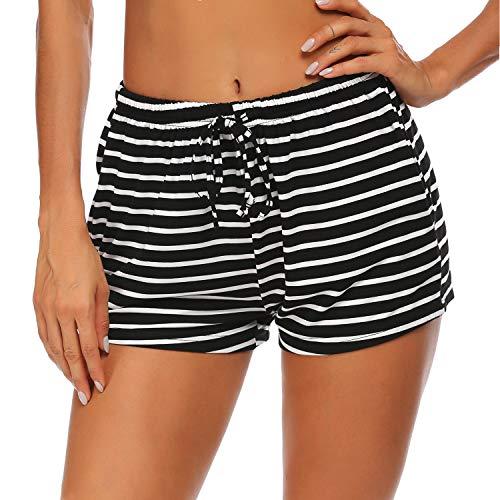 Ekouaer Pack de 2 pantalones de pijama para mujer, cortos, suaves, para dormir, tallas S-XXL negro, diseño a rayas S