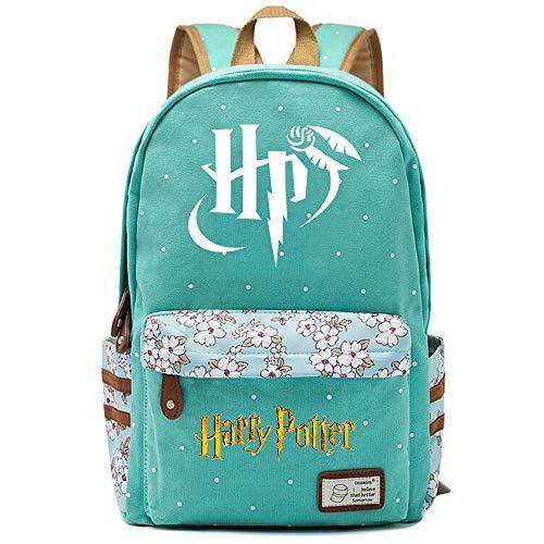 NYLY Mochila Escolar de Flores para niñas Mochilas Informales de Moda/de Compras/de Viaje, Mochila de la Serie Harry Potter (Estilo E) L Verde Claro