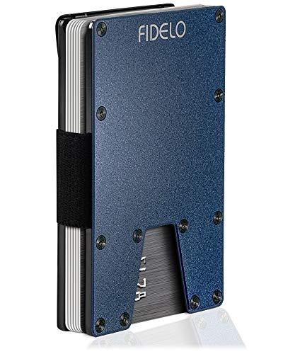 FIDELO Minimalist Wallet for Men - Slim RFID Credit Card Holder Money Clip - Eclipse Solo