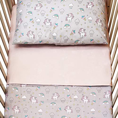 Cangoo Set lenzuola 3 pezzi per lettino neonato, culla, biancheria da letto bambino, 60x120cm, 100% cotone, lenzuolo reversibile, unicorni rosa, ottimo regalo (rosa)