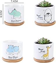 Youfui 4pcs Animal Succulent Plant Pot Holder with Tray Ceramic Succulent Cactus Planter Home Office Desk (Animals Estate)