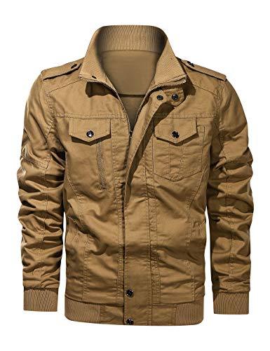 Men's Military Jacket Cargo Casual Coat Lightweight Outwear Cotton Stand Collar Windbreaker (Khaki, Small)