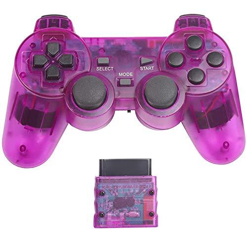 PS2 用 ワイヤレスコントローラー DUAL SHOCK2 ゲームパット 互換対応 日本語説明書 付き(透明紫)