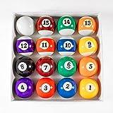 Billiard Balls Set 2-1/4' Pool Table Balls for Replacement (16 Resin Balls)