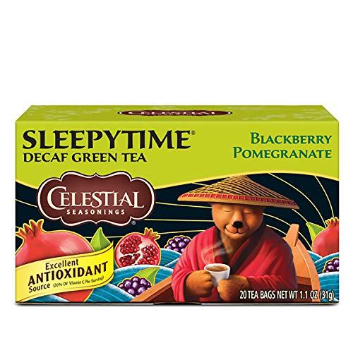 Celestial Seasonings Green Tea, Sleepytime Decaf Blackberry Pomegranate, 20 Count (Pack Of 6)