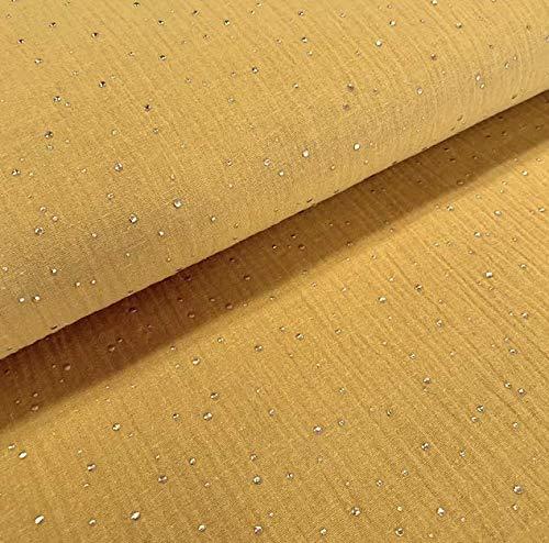0,5m Musselin Gold Kleckse senf senfgelb Meterware 1,4m breit 100% BW 135g/m2