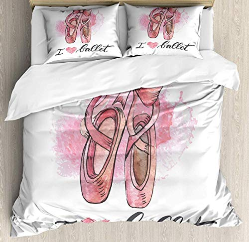 882 Ballerina Duvet Cover Set Super King Size, I Love Ballet Typography with Paint Illustration of Pretty Pair of Pointe Shoes, Decorative 3 Piece Bedding Set with 2 Pillow Shams, Multicolor
