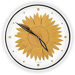 BOTANADU Sunflower Clock Wall Clock - Sunflower Decor and Wall Decor for Home Office Kitchen Living Room Bedroom Round Clock in White and Gold Flower