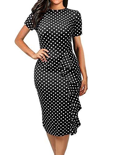 oxiuly Women's Retro Vintage Polka Dot Contrast Slim Bodycon Dresses Short Sleeve Casual Round Neck Pencil Midi Dress OX055 (S, Black)