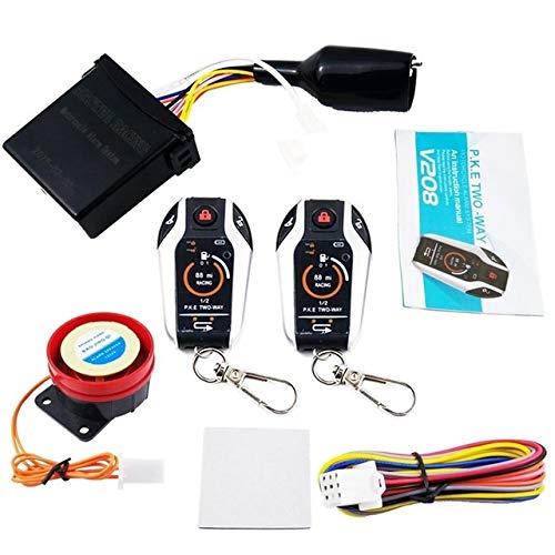 W-Nuanjun-air 1 Juego de 12V de la Motocicleta antirrobo de Dos vías de Alarma con función de Bloqueo automático for Abrir una tecla for iniciar el Flameout for Proteger el Ing (Color : Multi)