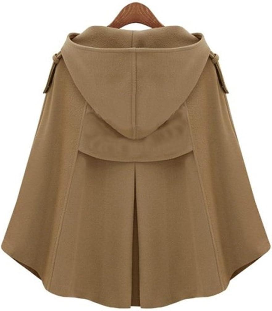 LaoZan Damen Faux Wolle Mantel Jacken Poncho Cape mit Kapuze Wollmantel Jacke Kamel