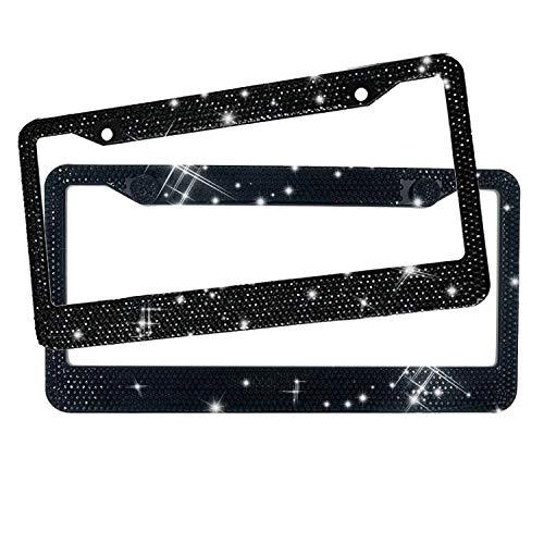 EEEKit License Plate Frames Black,2 Pack Rhinestone License Plate Cover for Women Bling Diamond License Plate Holder, Stainless Steel Chrome Car Plates