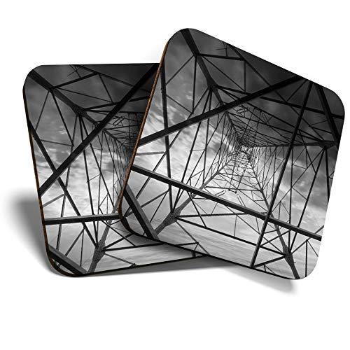 Great Coaster - Posavasos (2 unidades, cuadrado, BW, electricidad, arte de rejilla...
