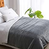 Weighted Idea Weighted Blanket Queen Size 15 Pounds 60' x 80' with Sherpa & Minky Removable Duvet Cover for Adults (Dark Grey, Comfortable Fabric)