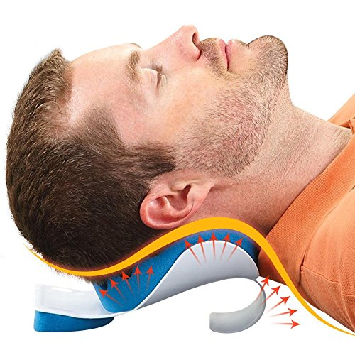 BodyHealt tmj Pain Relief Pillow Neck & Shoulder Massage Relaxer Traction Device - Chiropractic Pillow for Pain Relief Management & Cervical Spine Alignment, Blue and White