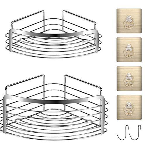 Huante - Lote de 2 bandejas de ducha de esquina con adhesivo reutilizable - Cesta de soporte para escalera angular de ducha con gancho - Sin pegamento