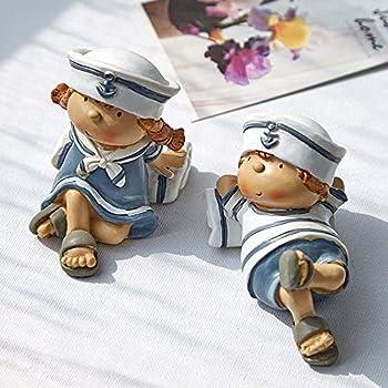 ZEXIN Cute Mediterranean Style Elf Girl Boy Figurines Hanging Leg Doll Resin Doll Dolls Miniatures Home Decoration D