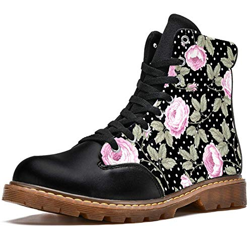 TIZORAX Patrón floral sin costuras con estampado de rosas de alta parte superior de encaje clásico de lona botas de invierno para hombres adolescentes y niños, color Multicolor, talla 42 2/3 EU