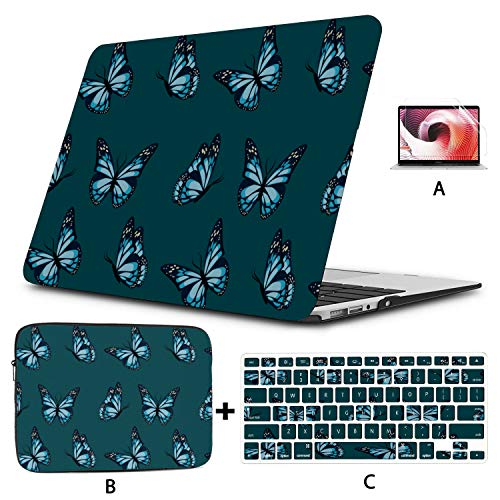 Macbook Pro A1989 Case Colorful Butterfly Insect Macbook Pro Screen Protector Hard Shell Mac Air 11'/13' Pro 13'/15'/16' With Notebook Sleeve Bag For Macbook 2008-2020 Version