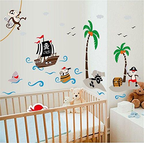 ufengke Cartoon-Piraten-Schiff Affepirat Kokos-Insel Wandsticker,Kinderzimmer Babyzimmer Entfernbare Wandtattoos Wandbilder