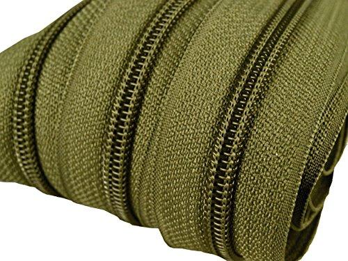 6 m endlos Reißverschluss 5 mm Laufschiene + 15 Zipper Meterware teilbar Farbwahl (olivgrün)