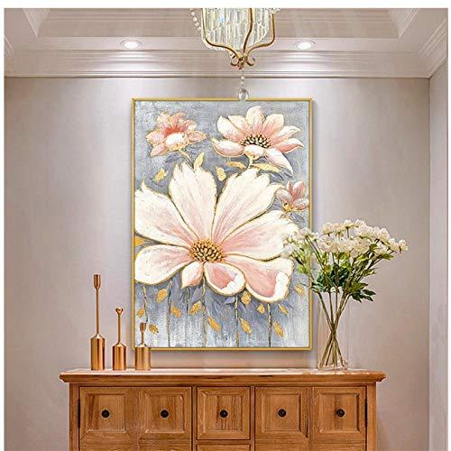 Arte de pared lienzo impreso abstracto vertical flor rosa decoración pintura mural moderno nórdico hogar habitación cuadros modulares 19.6'x 27.5' (50x70cm) sin marco