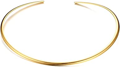 Mealguet Jewelry Fashion Must-Have Stainless Steel Gold Plated Metal Plain Cuff Chocker Collar Necklace for Women