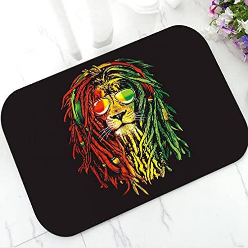 MAZIHAN Reggae Rasta Lion Fußmatte für Badezimmer Küche Rasta Musik Jamaika Flagge Fußmatte Teppich Boden Eingang Teppich Wohnkultur Geschenk- 16