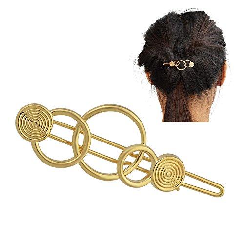 Feelontop® Minimalist Damen Accessoires Silber Gold Geometrische Kreis Haarnadel Haarschmuck mit Schmuckbeutel (gold)