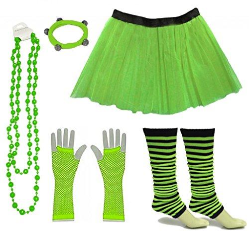 A-Express Frauen kostüm 80er Jahre Neon Tutu Streifen Beinstulpen Fischnetz Handschuhe Tüllrock Karneval Tüll Damen Fluo Ballett Verkleidung Party Tutu Rock Kostüm Set (46-54, Grün)