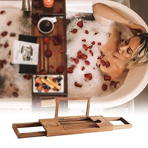 XGG Bathtub Trays Teak Bathtub Caddy Tray Table - Extendable Bathtub Rack Organiser Waterproof Tray Set Over Bathtub Wine Rack with Book Holder, Ideal Shower Organizer Rack for Bathroom