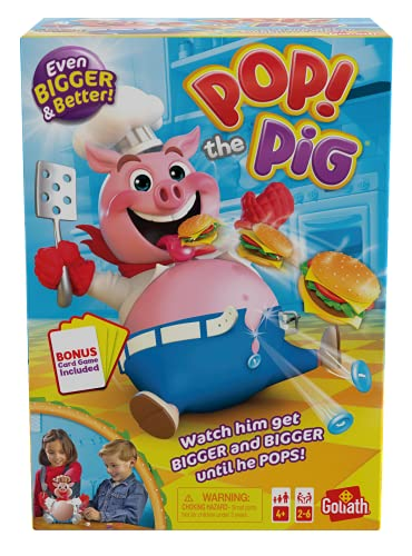 Pop The Pig (Bigger & Better) w/Greedy Granny Old Maid Card Game by Goliath, Multi Color