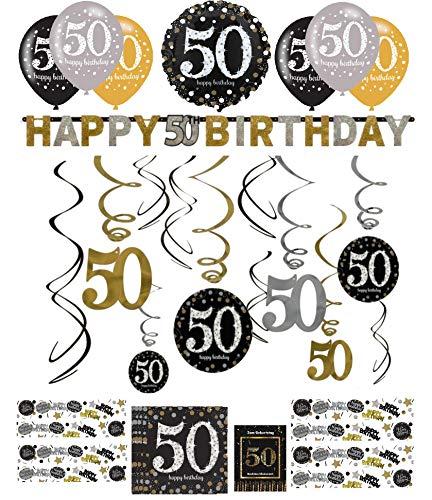 Libetui Geburtstag Dekoration Deko-Set 'Sparkling' Gold Silber Happy Birthday Partykette Girlande Konfetti (50.Geburtstag), mit Glückwunschkarte