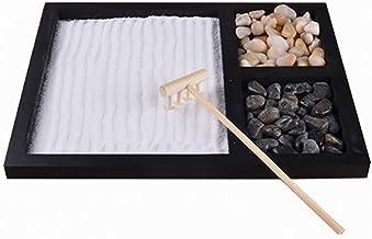 Hahepo Juego de bandejas de Arena de jardín Zen en Miniatura, Accesorio de decoración de Escritorio de Regalo de Base de Pluma